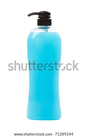 blue gel in pump bottle isolated white - stock photo