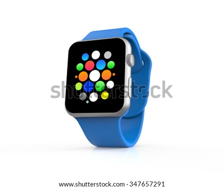 Blue generic smart watch with icons isolated on a white background