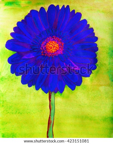 Blue gerbera flower on green background, watercolor painting. - stock photo