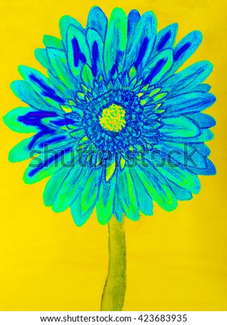 Blue gervera flower on yellow background, painting in watercolours - stock photo