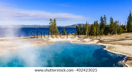 Blue Geyser Pool at Yellowstone Lake in Yellowstone National Park