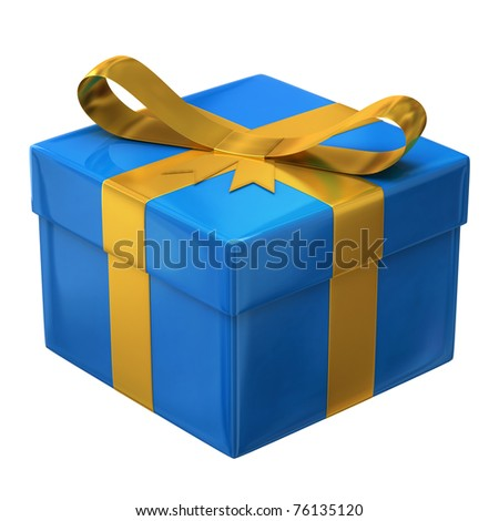 Blue gift - stock photo