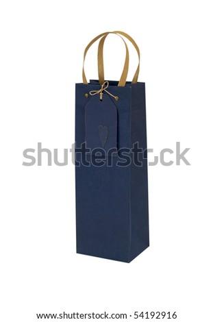 BLUE GIFT BAG FOR WINE - stock photo
