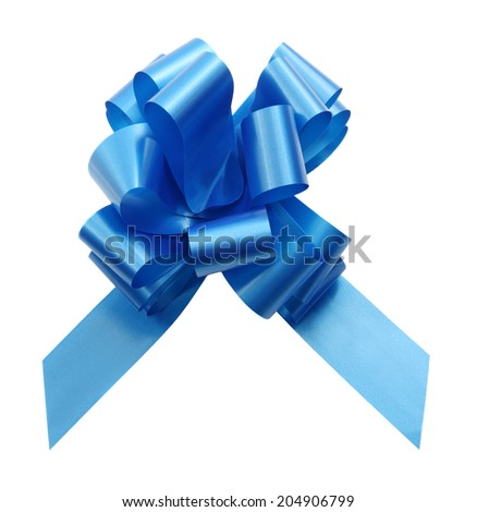 Blue gift bow ribbon isolated on white. Studio shot, clipping path. - stock photo