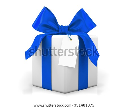 blue gift box 3d render - stock photo