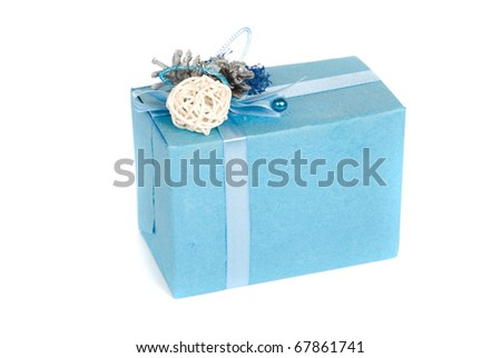 blue gift box isolated on a white background - stock photo
