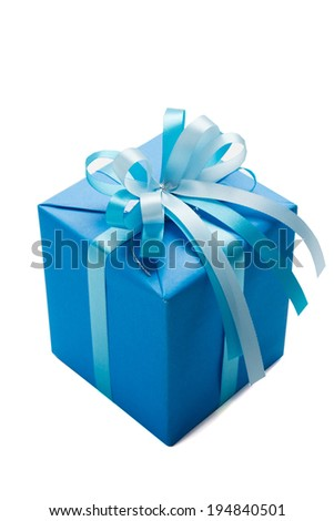 Blue gift box isolated on white
