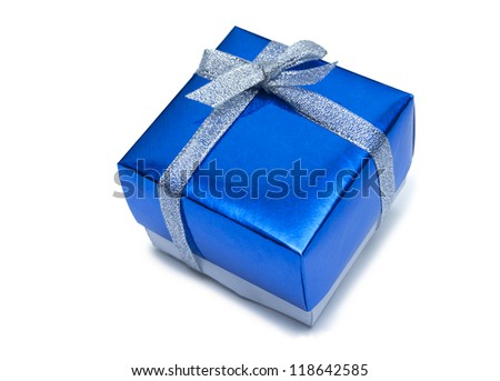 Blue gift box on a white background