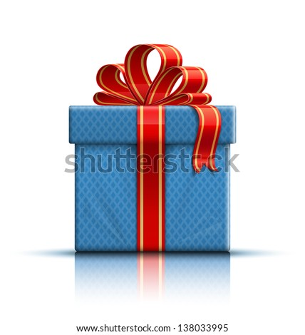 Blue gift box with a red ribbon and a bow. Raster version - stock photo