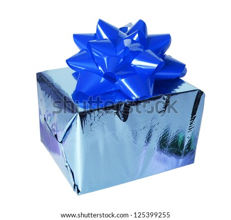 blue gift box with bow isolated on a white background