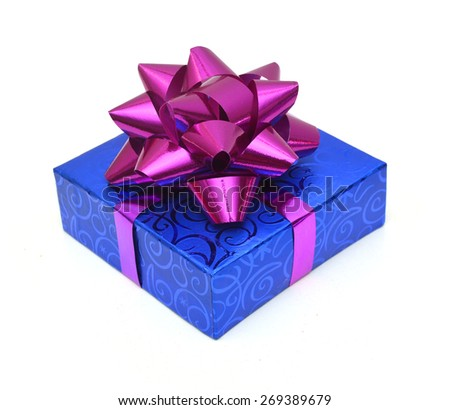 Blue gift box with bow. Isolated on white. - stock photo