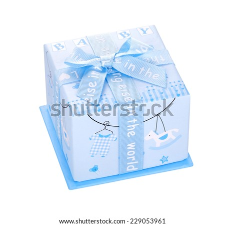 Blue gift box with bow isolated on white background
