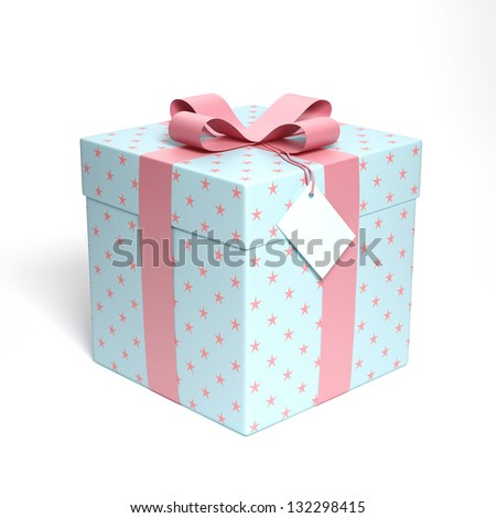 Blue gift box with pink ribbon 3d render - stock photo