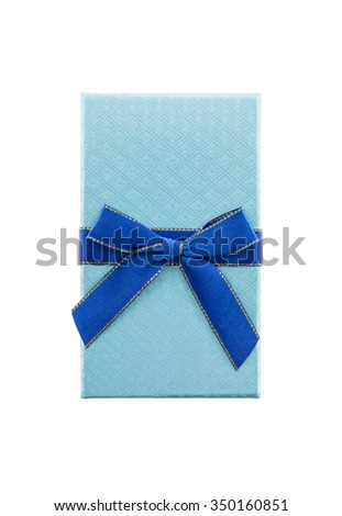blue gift box with ribbon bow isolated white background - stock photo