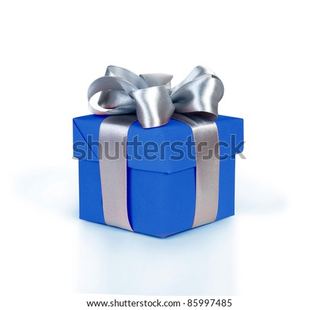 blue gift box with silver ribbon - stock photo