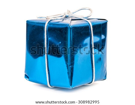 Blue gift box with silver ribbon isolated on white background with clipping path - stock photo