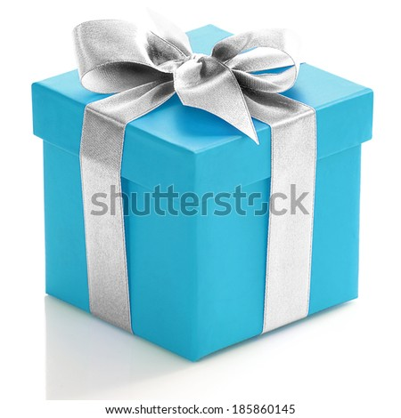 Blue gift box with silver ribbon on white background.