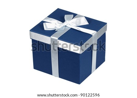 Blue gift box with silver ribbon over white with clipping path. - stock photo
