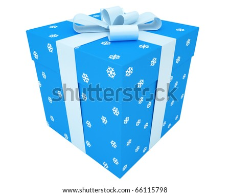blue gift box with snowflake ornament and light-blue ribbon isolated on white background - stock photo