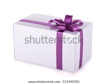 Blue gift box with violet ribbon and bow. Isolated on white background - stock photo