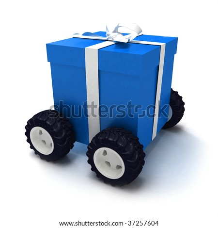 Blue gift box with white ribbon on wheels - stock photo