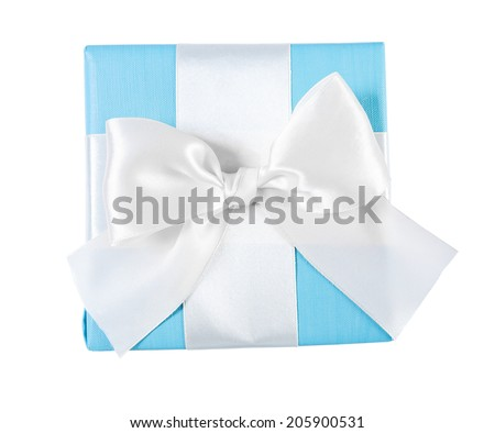 blue gift box with white ribbon view from the top isolated - stock photo