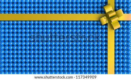 Blue gift box with yellow ribbon background - stock photo