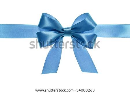 blue gift satin ribbon bow on white background - stock photo
