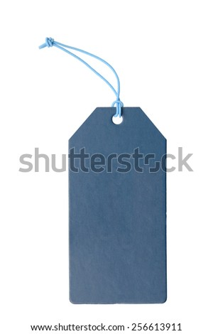 Blue gift tag tied with a string - stock photo