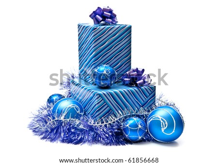 Blue gifts boxes with christmas decoration. Isolated on white - stock photo