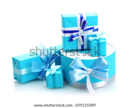 blue gifts with bows isolated on white - stock photo