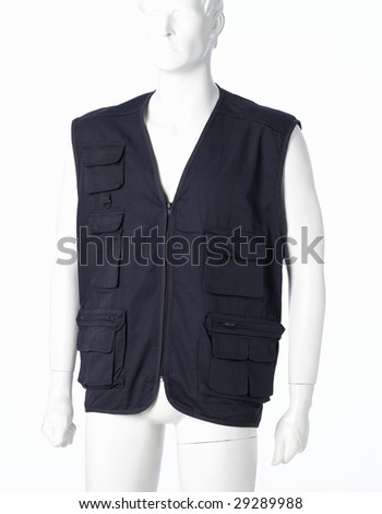 Blue Gilet isolated on a white background