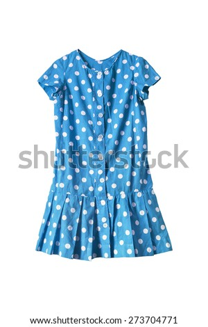 Blue girlish dress with polka dots on white background - stock photo