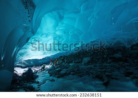 blue glacier ice cave near Juneau, Alaska - stock photo