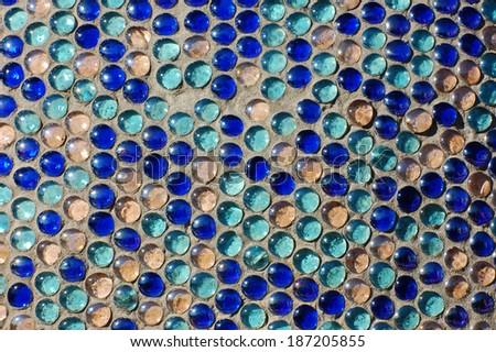 Blue glass balls pattern background - stock photo