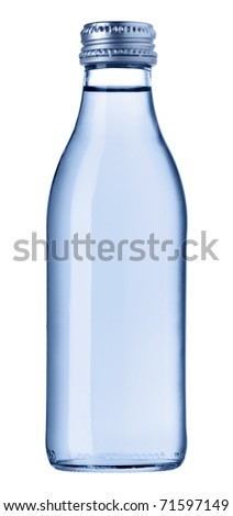 Blue glass bottle isolated [with clipping path] - stock photo
