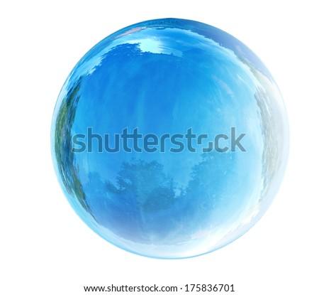blue glass bubble - stock photo