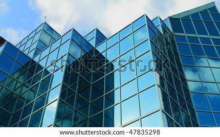 Blue Glass Building - stock photo
