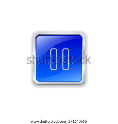 Blue glass button with chrome border and pause icon.