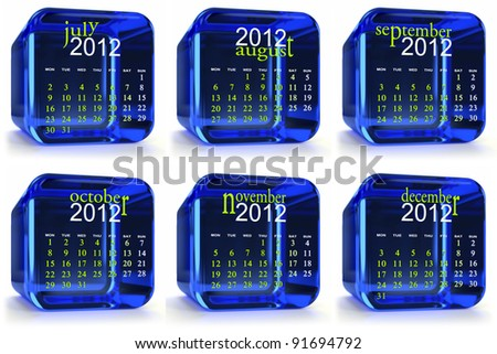 Blue 2012 glass calendar. Months July to December - stock photo