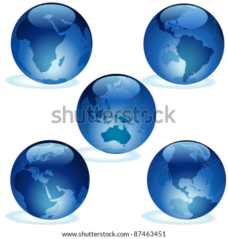 Blue Glass Earth Collection - stock photo