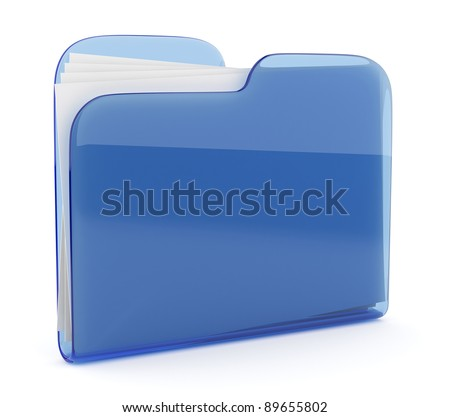 Blue glass folder. File 3D.  Icon isolated on white background - stock photo