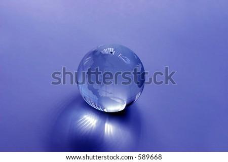 Blue Glass Globe - stock photo