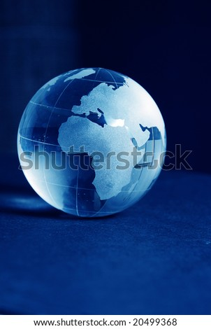 Blue glass globe high resolution image - stock photo