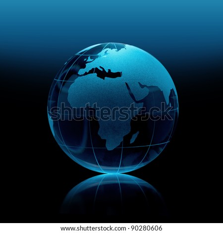Blue Glass globe on a black background - stock photo