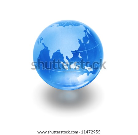 blue glass globe on white background - stock photo