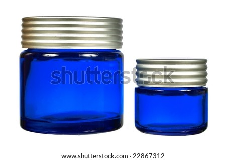 Blue glass jars, front view isolated on white background - stock photo