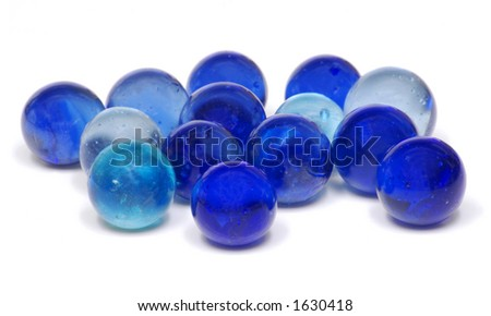 Blue Glass Marbles - stock photo