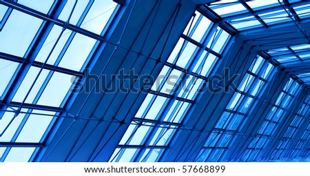blue glass roof - stock photo