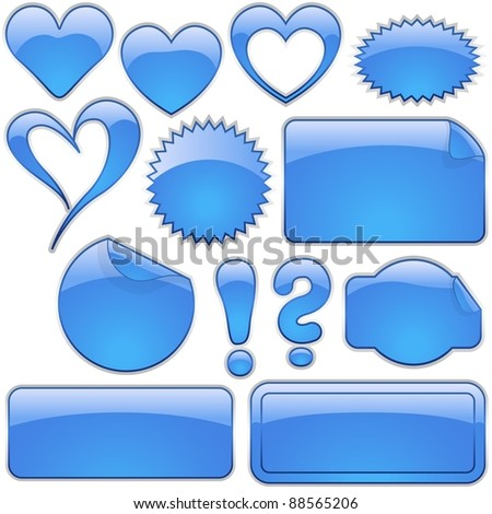 Blue Glass Shapes - stock photo